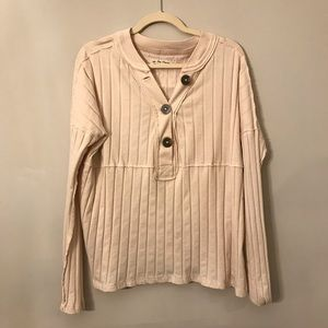 Free People In The Mix Henley Top in Ivory.